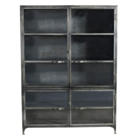 Iron large glass cabinet
