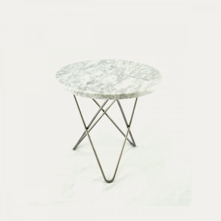 O table Mini white_steel