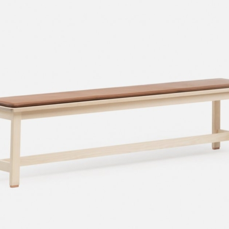 De la espada 443_Bench_by_Studioilse_in_white_oiled_ash_and_447S_Seat_Pad_in_brown_leatherweb_920x625
